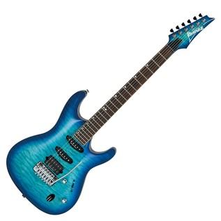 Ibanez SA960QM Premium Electric Guitar, Danube Blue Burst Front View