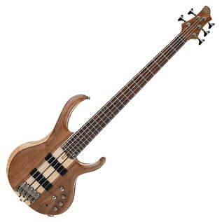 Ibanez BTB745 5 String Bass Guitar, Natural Low Gloss, Front View