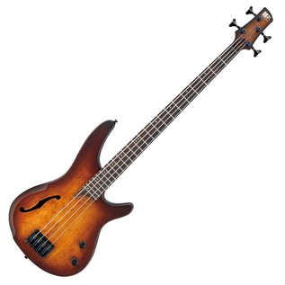 Ibanez SRH500 Semi Hollow Bass Guitar, Dragon Eye Burst Flat Front View