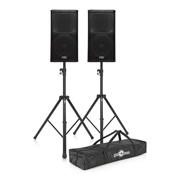 QSC KW122 Active PA Speakers with Stands
