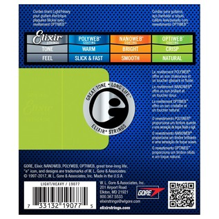 Elixir OPTIWEB Coated Strings, Light Top Heavy Bottom