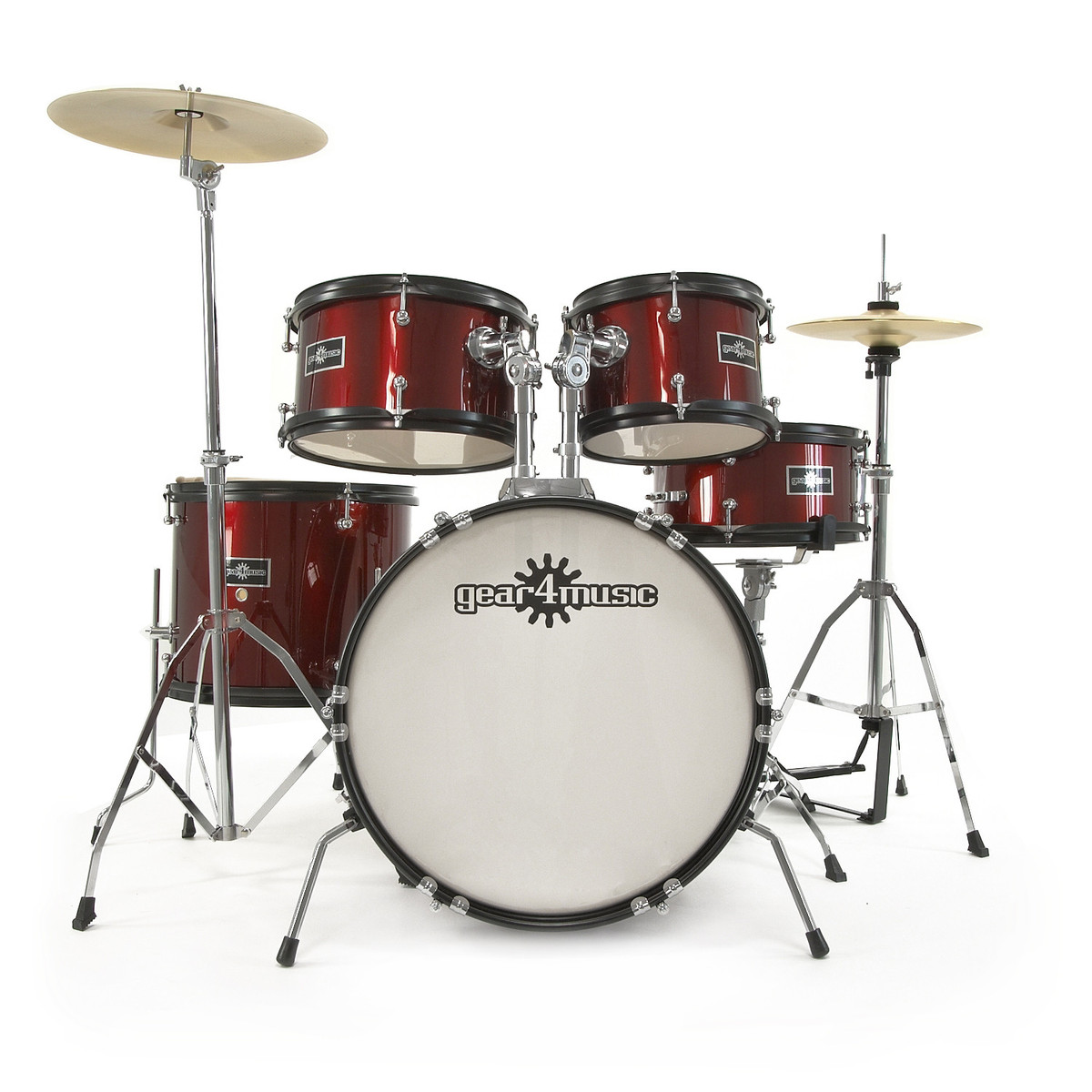 Junior 5 Piece Drum Kit By Gear4music Wine Red Box