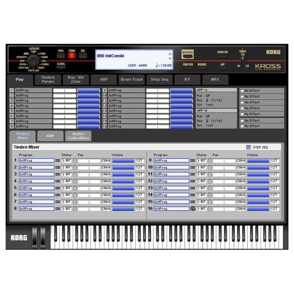 Korg Krome 61 platinum user interface
