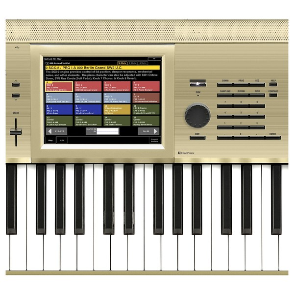 Korg Kronos 88 gold screen close up