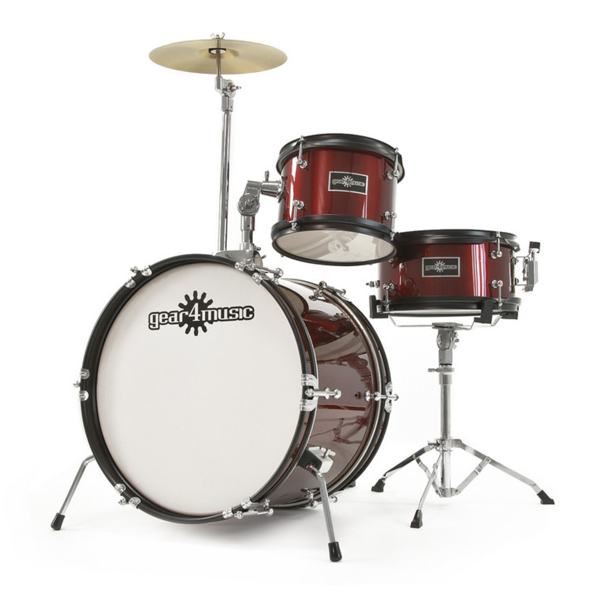 Junior 3 Piece Drum Kit By Gear4music Wine Red B Stock