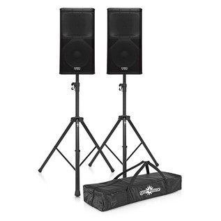 QSC KW152 Active PA Speakers with Stands