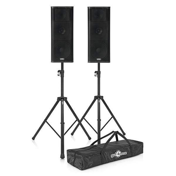 QSC KW153 Active PA Speakers with Stands