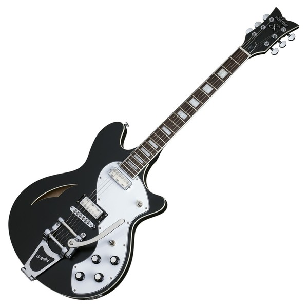 Schecter T S/H-1B Hollowbody Guitar, Black Pearl