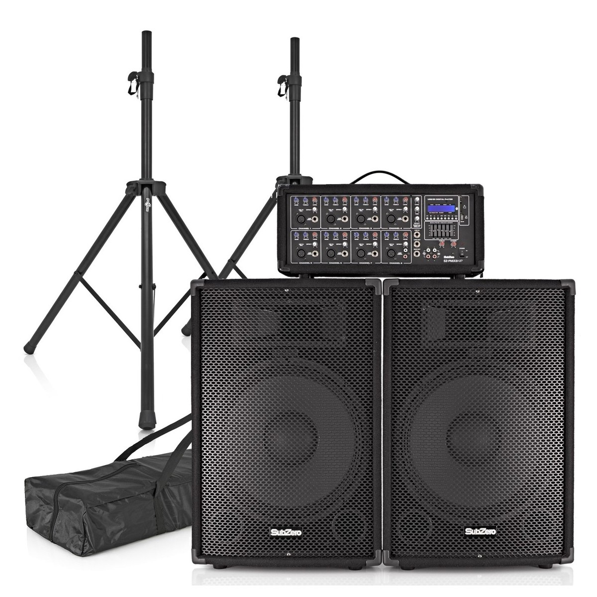 subzero szpa 815 300w 15 pa system with stands at gear4music. Black Bedroom Furniture Sets. Home Design Ideas