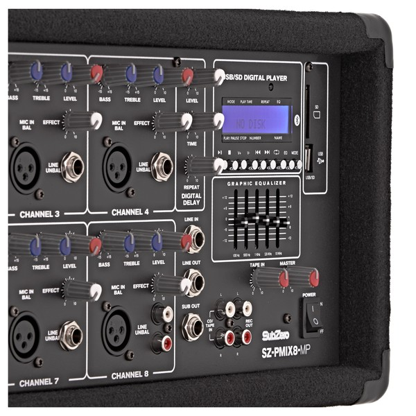 SubZero SZ-PMIX8-MP3 8 Channel Powered Mixer, Bluetooth & MP3 Player