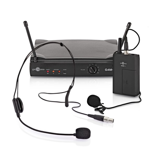 Single Lavalier and Headset Wireless Microphone System by Gear4music