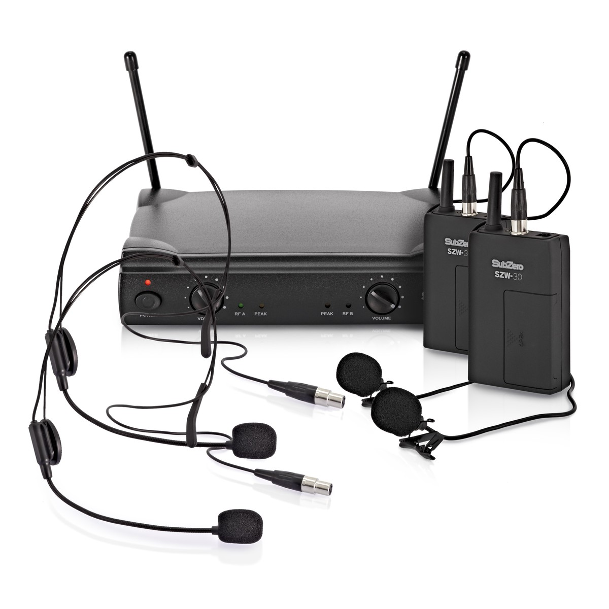 subzero szw 30 dual lavalier and headset wireless microphone system at gear4music. Black Bedroom Furniture Sets. Home Design Ideas