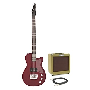 Silvertone 1444 RAZR Bass Guitar with V35B Amp, Red