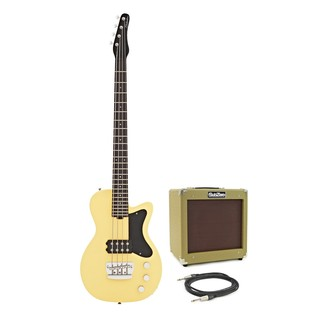 Silvertone 1444 RAZR Bass Guitar with V35B Amp, Cream