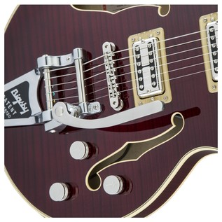 Gretsch G6659TFM Player's Edition Broadkaster FM, Dark Cherry Stain Close