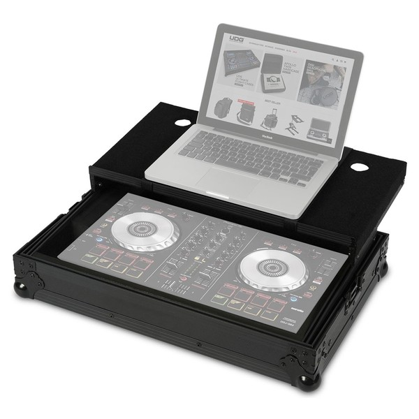 UDG FlightCase DDJ-SB2/SB & Laptop Shelf - Angled Open (Equipment Not Included)