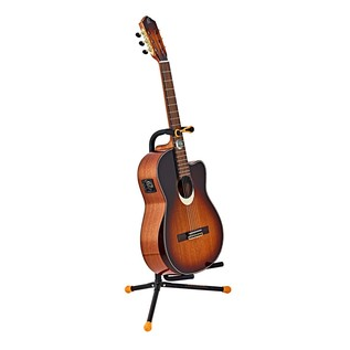 Ortega OGS-1BK Guitar Stand, Orange/Black With Acoustic