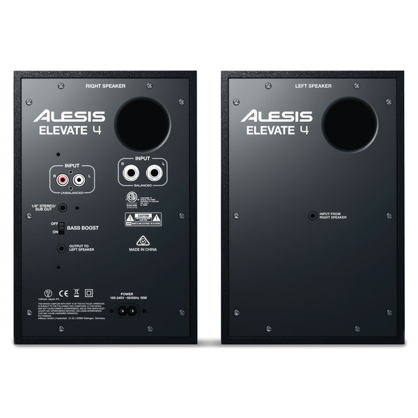 Alesis Elevate 4 Studio Monitors, Pair - Rear