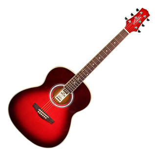 Ashton OM24 Acoustic Guitar, Transparent Red