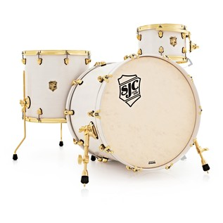 SJC Drums Tour 22'' 3 Piece Shell Pack, LTD ED White with Brass HW