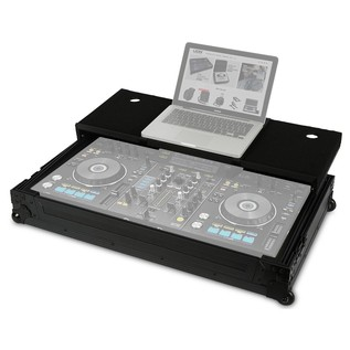 UDG FlightCase XDJ-RX With Laptop Shelf & Wheels - Angled Open (Equipment Not Included)