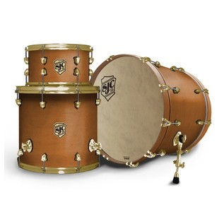 SJC Drums Tour 22'' 3 Piece Shell Pack, Golden Ochre with Brass HW