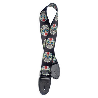 Stagg Teralene Guitar Strap Rose Red Mexican Skull