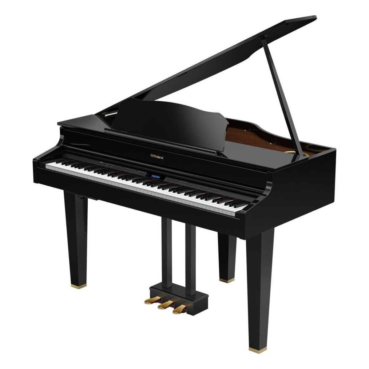 Roland gp607 digital grand piano polished ebony at for Size of baby grand piano