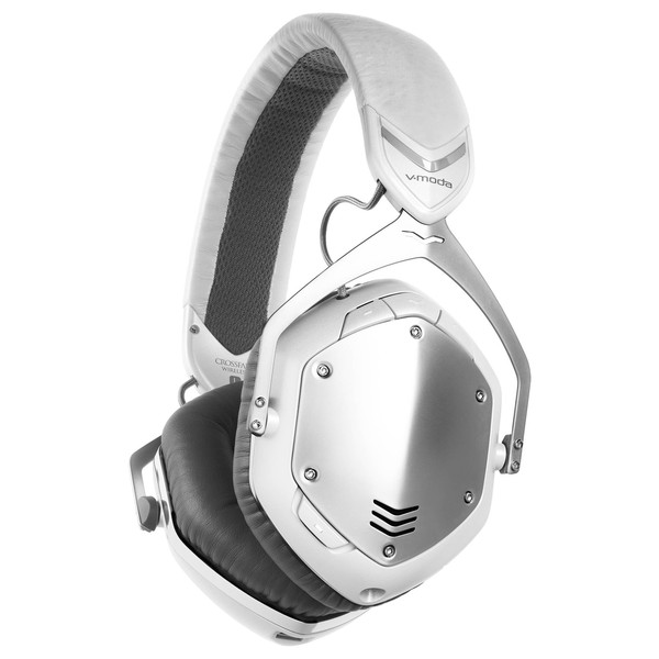 V-Moda Crossfade Wireless Bluetooth Headphones, White Silver - Angled