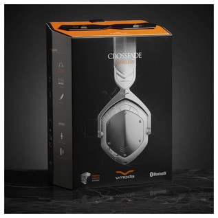 V-Moda Crossfade Wireless Bluetooth Headphones, White Silver - Boxed