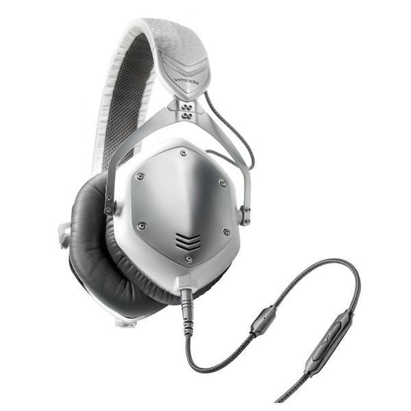 V-Moda M-100 Crossfade Headphones, White Silver - Angled