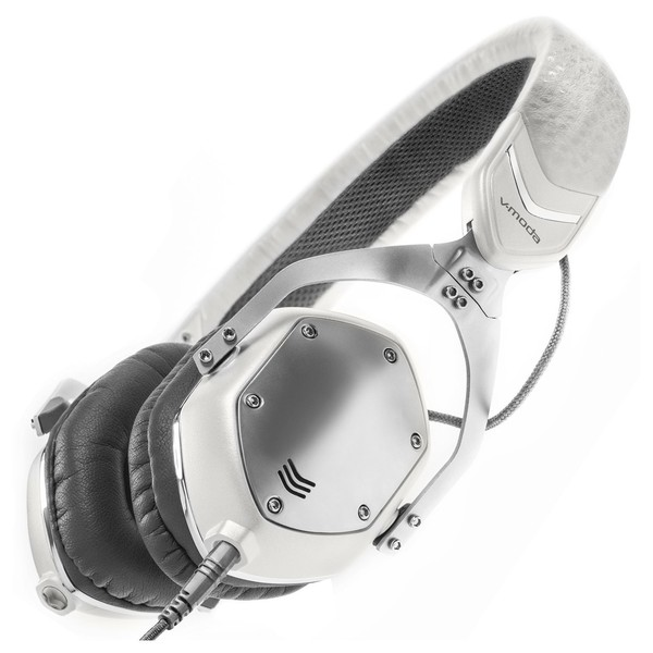 V-Moda XS On-Ear Headphones, White Silver - Angled