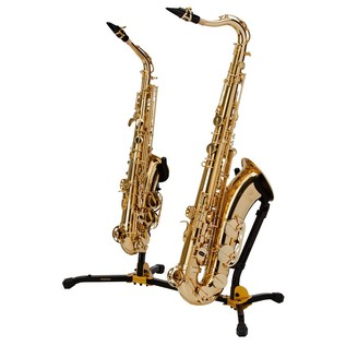 Hercules DS537B Alto and Tenor Saxophone Dual Stand, 1 Peg Hole With Saxophones