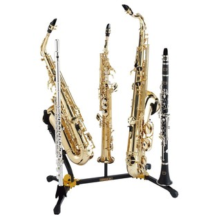 Hercules DS538B Alto and Tenor Saxophone Dual Stand, With 3 Pegs With Instruments