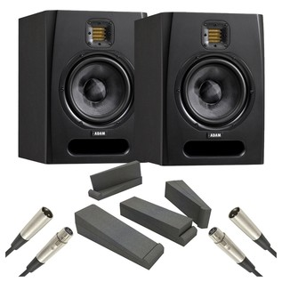 Adam F7 Studio Monitors with Isolation Pads and Cables, Pair - Bundle