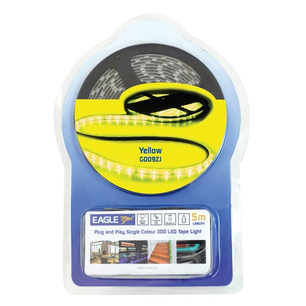 Eagle IP65 LED Tape Light Kit 5m With In-Line Power Supply, Yellow