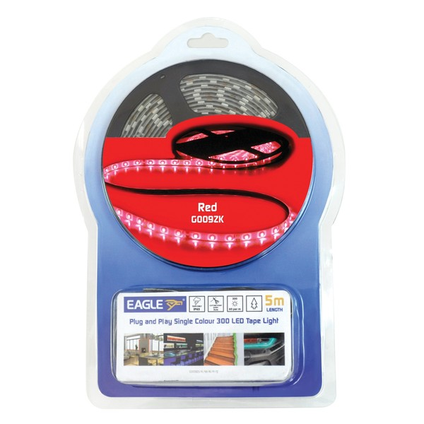 Eagle IP65 LED Tape Light Kit 5m With In-Line Power Supply, Red