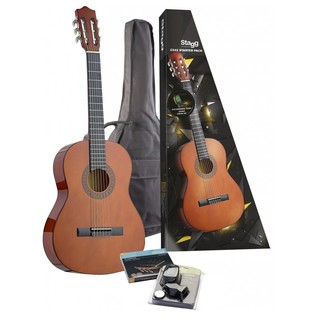 Stagg 4/4 Size Linden Classical Guitar Natural Starter Pack