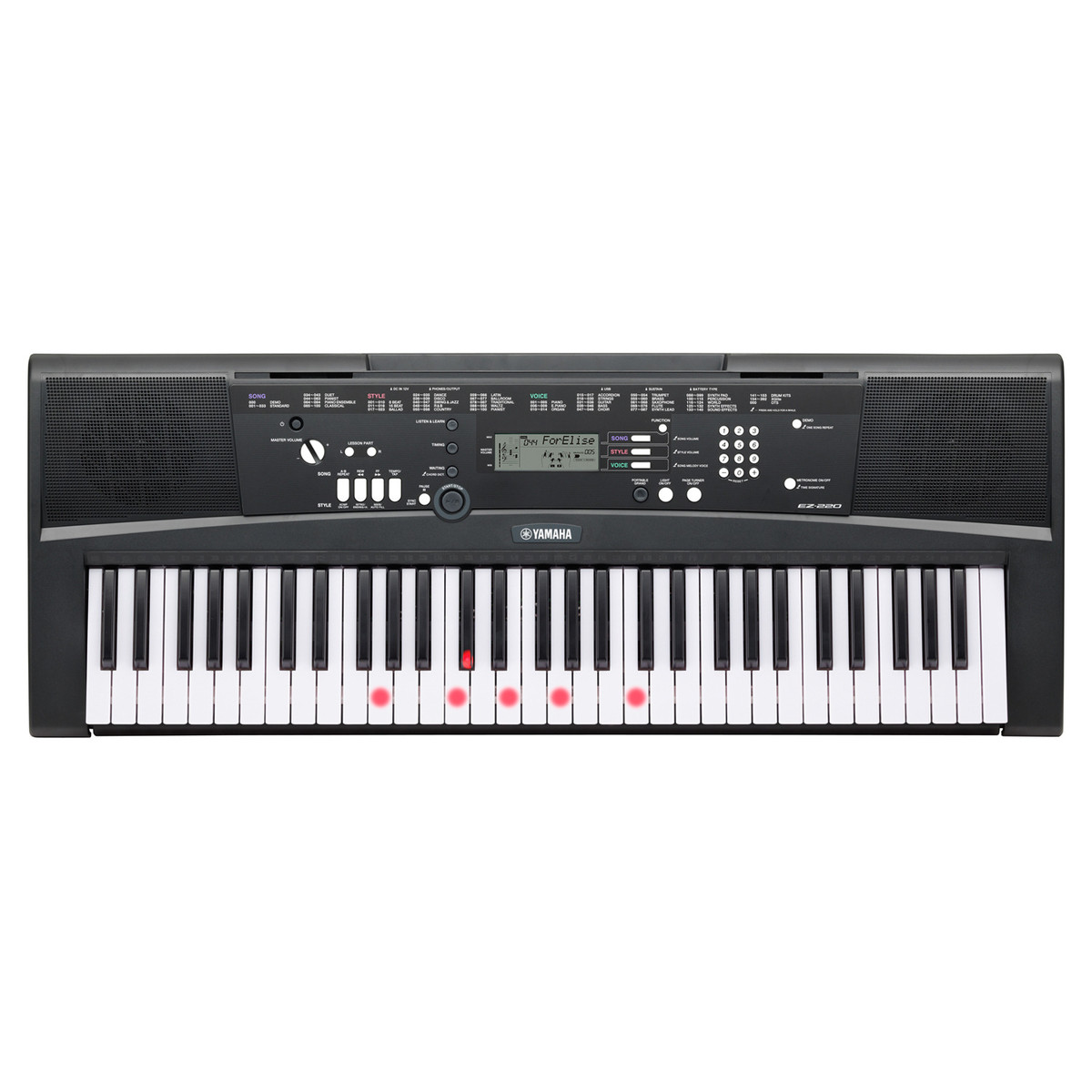 yamaha ez220 61 key keylighting keyboard box opened at. Black Bedroom Furniture Sets. Home Design Ideas