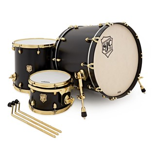 SJC Drums Tour 22'' 3 Piece Shell Pack, Black with Brass HW