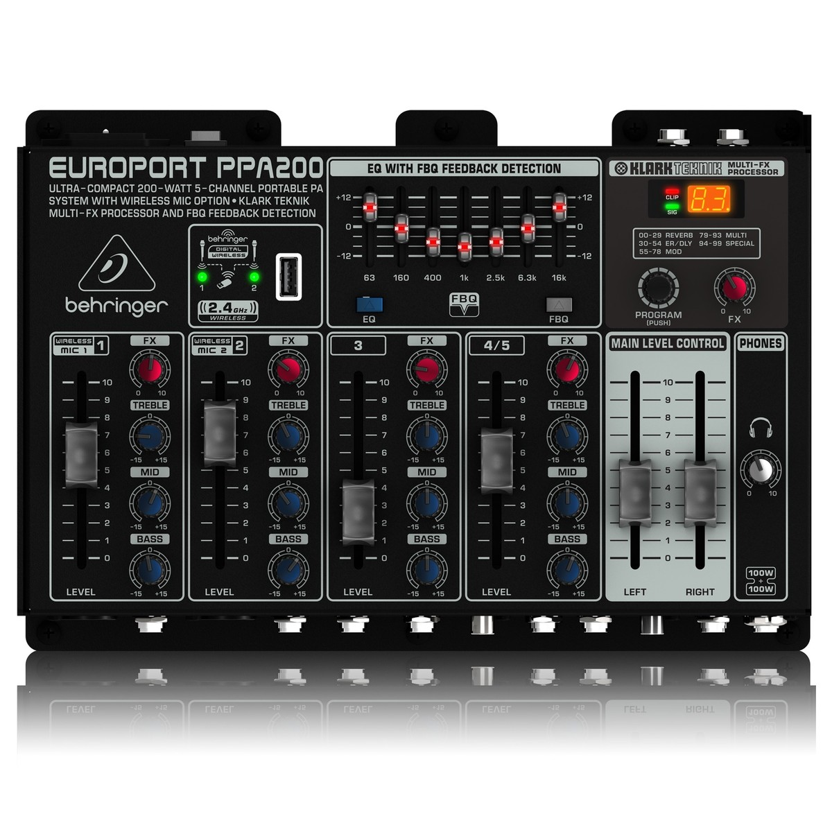 Behringer Europort Ppa200 5 Channel Portable Pa System At