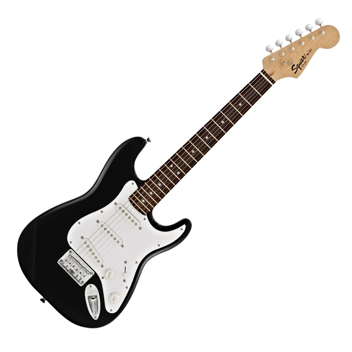 squier by fender mini stratocaster 3 4 size electric guitar black at. Black Bedroom Furniture Sets. Home Design Ideas