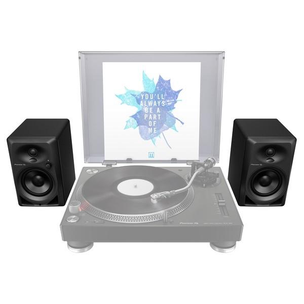 Pioneer DM-40 Active Studio Monitor Speakers - Setup (Turntable Not Included)