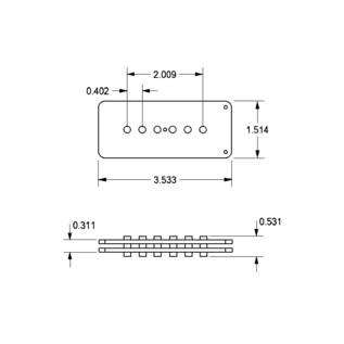 Seymour Duncan Antiquity II Jazzmaster Jam Pickup Dimension Specification