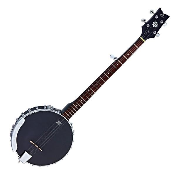 Ortega OBJE250OP-SBK Raven Series 5 String Electro Banjo, Black Front