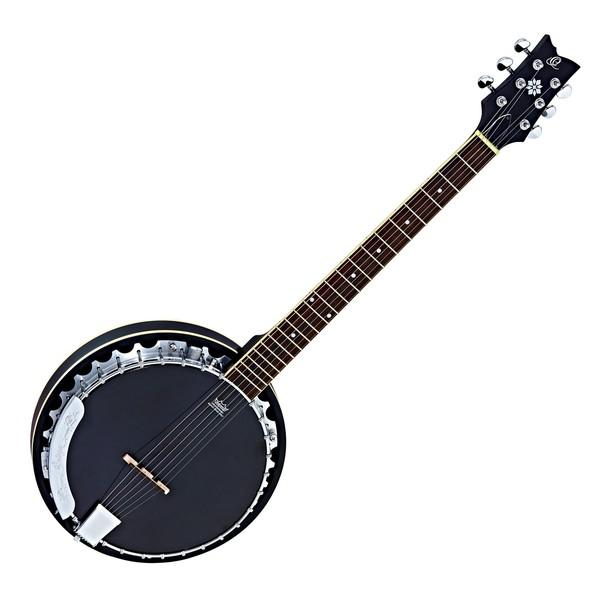 Ortega OBJE350/6-SBK Raven Series 6 String Electro Banjo, Black Front