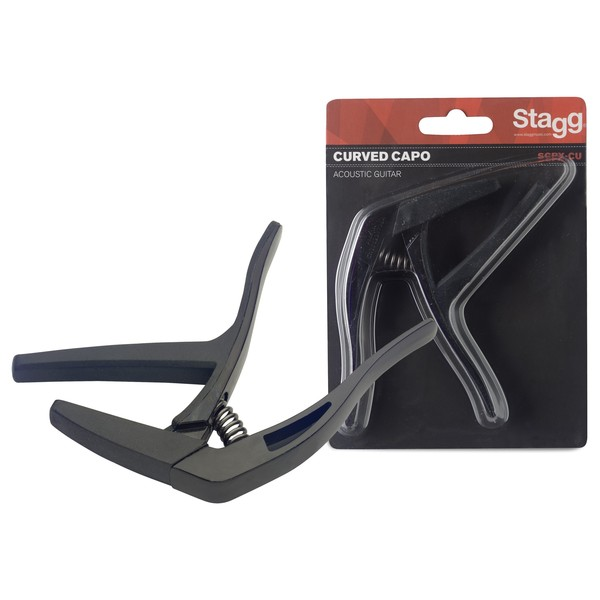 Stagg Curved Trigger Capo For Acoustic & Electric Guitar, Black