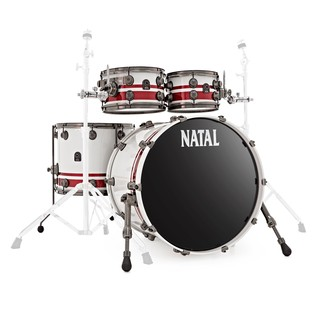 Natal Originals Birch 4pc Shell Pack, White Sparkle w/ Red Inlay