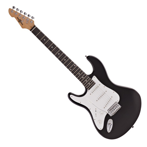 LA Left Handed Electric Guitar by Gear4music, Black
