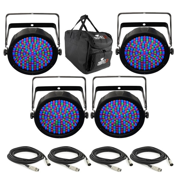 Chauvet SlimPAR 64 RGBA - 4 Pack with Free Bag and Cables - Bundle